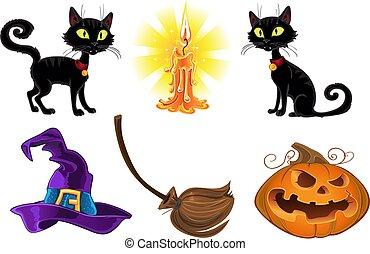 ensemble, halloween, icônes