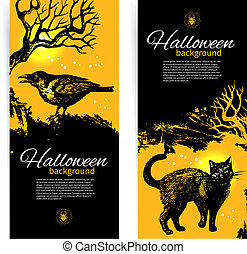 ensemble, halloween, illustration, main, banners., dessiné