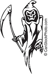 ensemble, -, halloween, illustration, reaper, vecteur,...