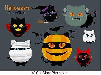 ensemble, halloween, illustration, vecteur, déguisement, chats