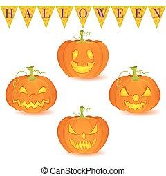 ensemble, halloween, isolé, o'lantern, cric, blanc,...