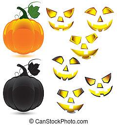 ensemble, halloween, maquillage, citrouille