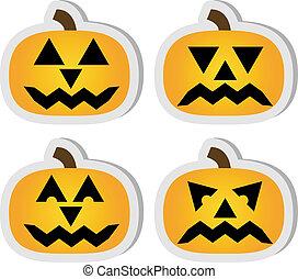 ensemble, halloween, o'lantern, 4, autocollants, cric