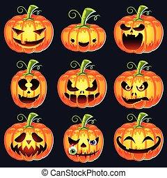 ensemble, halloween, potirons