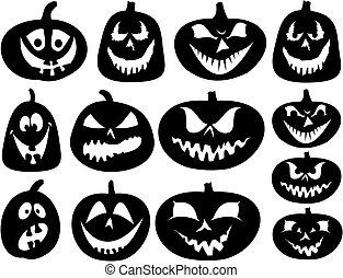 ensemble, halloween, -, silhouettes, vecteur, citrouille