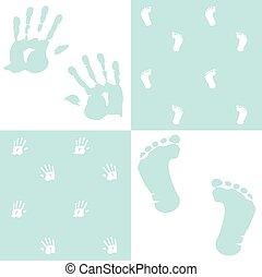 ensemble, handprint, garçon, vecteur, empreinte, bébé