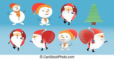 ensemble, heroes., santa, snowmen., clauses, noël