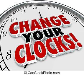 ensemble, heure, mains arrière, une, économies, clocks,...