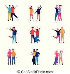 ensemble, heureux, avoir, couples, amusement