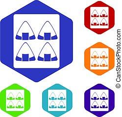 ensemble, hexagone, sushi, icônes