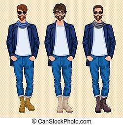ensemble, hipster, homme