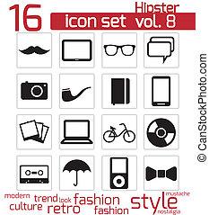 ensemble, hipster, icône