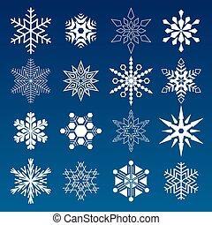 ensemble, hiver, flocons neige