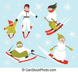 ensemble, hiver, flocons neige, snowboarder, sport, skieur