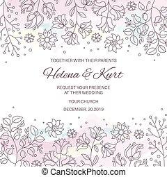 ensemble, hiver, griffonnage, illustration, vecteur, mariage, floral, folklorique