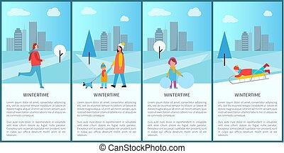 ensemble, hiver, illustration, vecteur, amusement, affiches