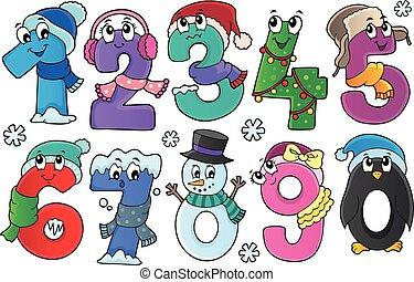 ensemble, hiver, nombres, thème, 1