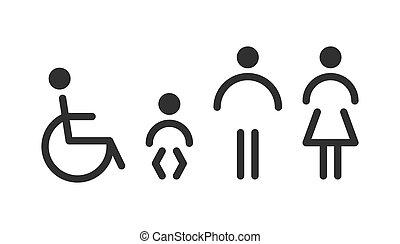 ensemble, hommes, -, toilette, women., icônes, nourrisson, handicapé