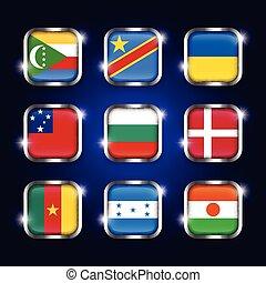 ensemble, honduras, congo, samoa, niger, frontière, comores, scintillement, ), (, boutons, république, camerounais, acier, verre, mondiale, ukraine, danemark, quadrangulaire, drapeaux, démocratique, bulgarie