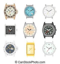 ensemble, horloge, faces, montres, vecteur, poignet, mécanique, icônes