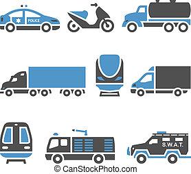 ensemble, -, huitième, transport, icônes