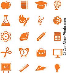ensemble, icône, énorme, education