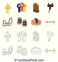 ensemble, icône, équipement, symbole., vecteur, concurrence...