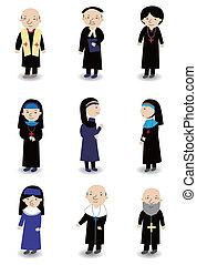ensemble, icône, dessin animé, prêtre, religieuse