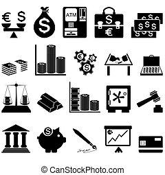 ensemble, icône, financier