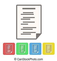 ensemble, icône, illustration, boutons, vecteur, blanc, document, stockage