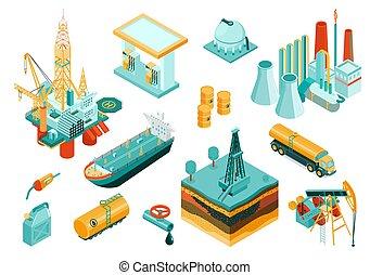 ensemble, icône, industrie, isométrique, huile