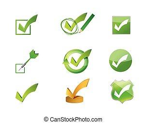 ensemble, icône, marques, approuver, chèque