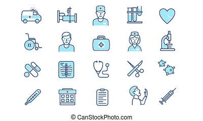 ensemble, icône, monde médical, healthcare