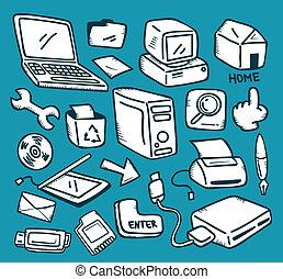 ensemble, icône ordinateur