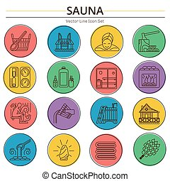 ensemble, icône, sauna, ligne