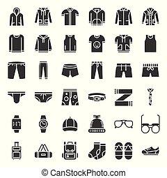 ensemble, icône, solide, accessoires, 2, mâle, vêtements