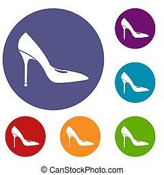 ensemble, icônes, élevé, chaussure, talons, femmes