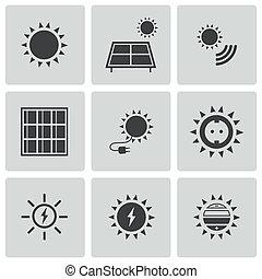 ensemble, icônes, énergie, vecteur, noir, solaire