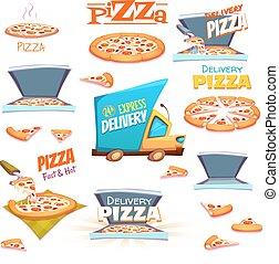 ensemble, icônes, étiquettes, symboles, vecteur, conception, signes, éléments, pizza
