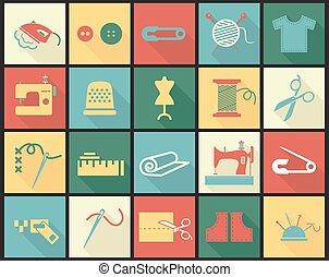 ensemble, icônes, aiguille, couture, équipement, dé, tissus