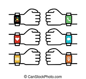 ensemble, icônes, app, gens, montre, mains, intelligent