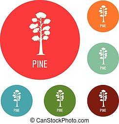 ensemble, icônes, arbre, pin, vecteur, cercle