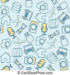 ensemble, icônes, articles, équipement, divers, technologique, griffonnage