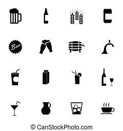 ensemble, icônes, bière, vecteur, noir, boisson