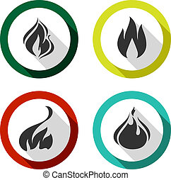 ensemble, icônes, brûler, flammes
