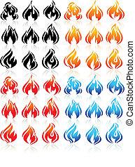 ensemble, icônes, brûler, grand, Flammes, nouveau