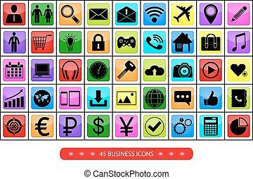 ensemble, icônes, business