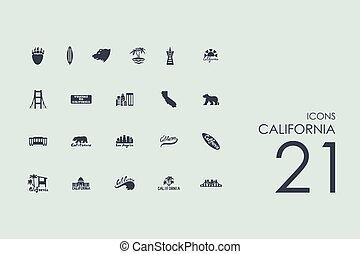ensemble, icônes, californie
