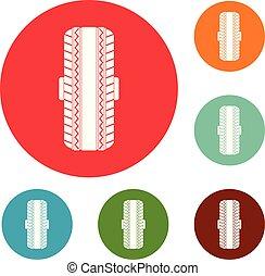 ensemble, icônes, caoutchouc, vecteur, pneu, cercle