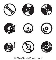 ensemble, icônes, cd, vecteur, noir, disque